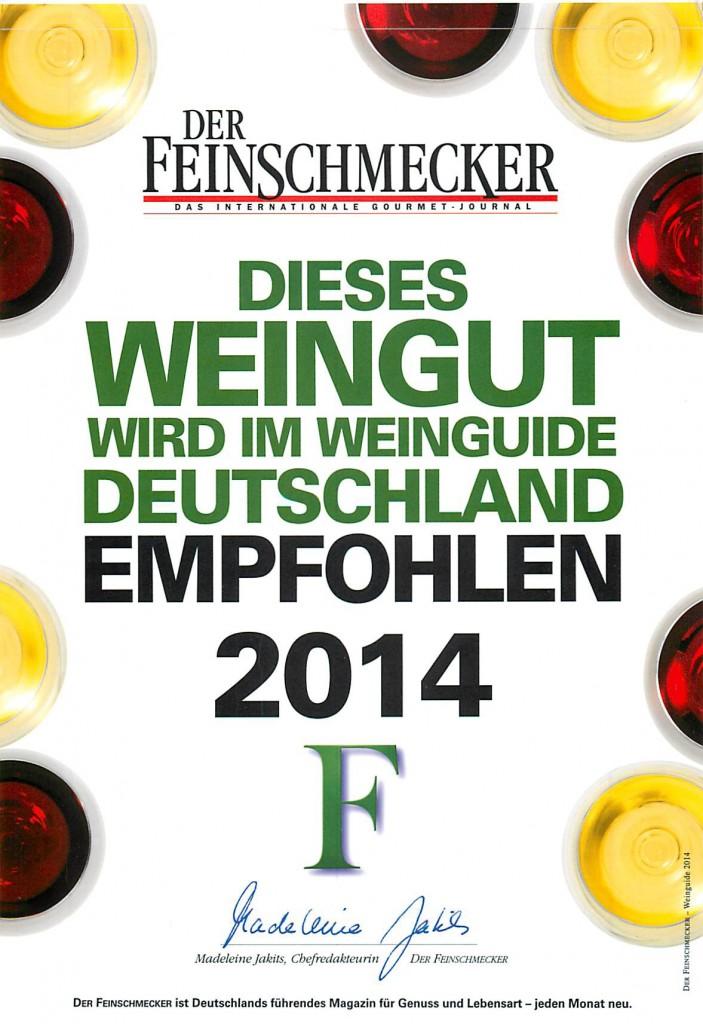Unser Weingut ist auch 2014 im Feinschmecker mit von der Partie!