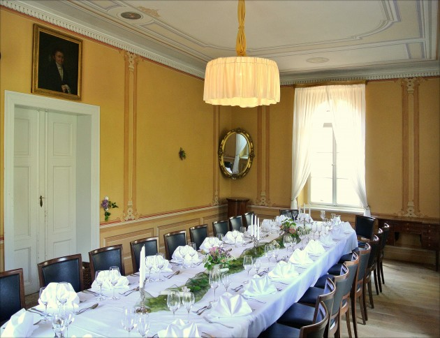 Unser historischer Gartensalon bietet Platz für bis zu 26 Gäste.