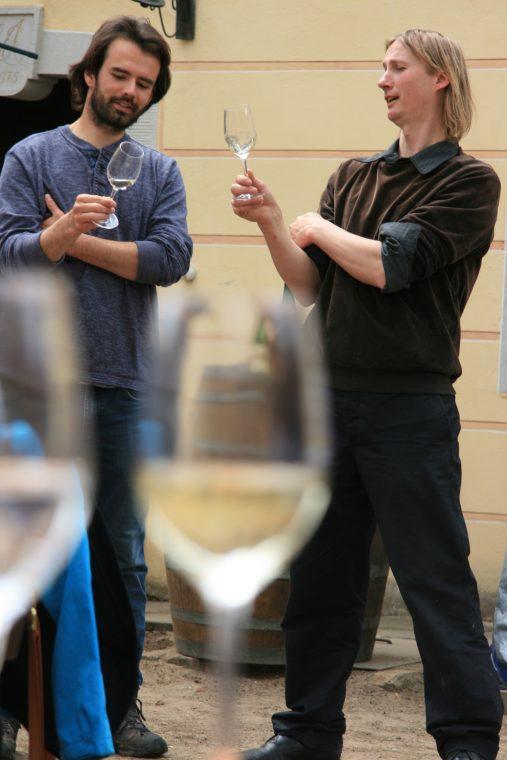 Anschließend an die Wanderung werden Weine verkostet,- die Weinprobe wird moderiert.